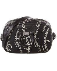 Ferragamo City Gancini Leather Camera Bag - Black