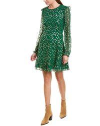 Hutch Silk-blend A-line Dress - Green