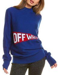 Off-White c/o Virgil Abloh Off-white? Flag Wool-blend Sweater - Blue