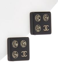 Chanel - Silver-tone & Black Square Clip-on Earrings - Lyst