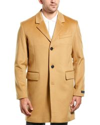 Cole Haan Luxe Leather-trim Lambswool Coat - Brown