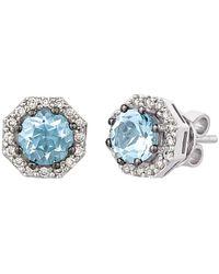 Le Vian ? 14k 1.25 Ct. Tw. Diamond & Sea Blue Aquamarine? Earrings