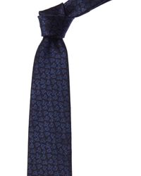 Ermenegildo Zegna Navy Paisley Silk Tie - Yellow