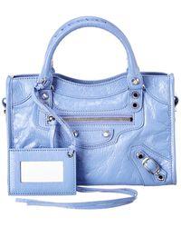 Balenciaga Classic City Mini Leather Shoulder Bag - Blue