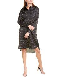 Eileen Fisher Dashes Silk-blend Shirtdress - Black