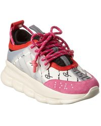 Versace Chain Reaction Leather & Suede Sneaker - Pink
