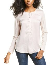 Go> By Go Silk Go By Go>silk Luxe Simple Silk-front Blouse - White