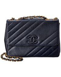 Chanel Navy Caviar Leather Diagonal Jumbo Single Flap Bag - Blue