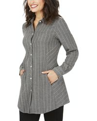 Foxcroft Cici Brushed Herringbone Stripe Tunic - Grey