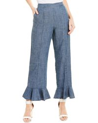 Trina Turk Mr. Roarke Linen-blend Pant - Blue