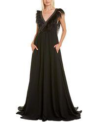 Brunello Cucinelli Feather Silk Gown - Black