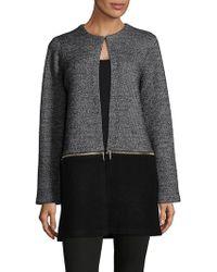 Karl Lagerfeld Colorblock Zip-off Coat - Black