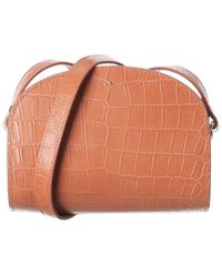 A.P.C. Demi Lune Mini Croc-embossed Leather Shoulder Bag - Multicolour