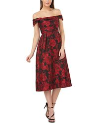 Carmen Marc Valvo Brocade Party Dress - Red