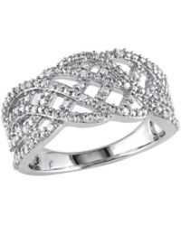 Rina Limor - Silver & 0.20 Total Ct. Diamond Crossover Band Ring - Lyst
