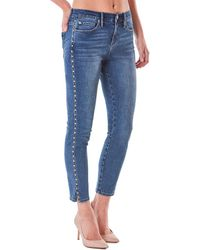 Nicole Miller Riverdale High Rise Crop Skinny Jean Medium Blue