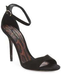 Dolce & Gabbana Strappy Suede Sandal - Black