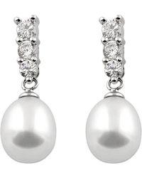 Splendid Silver 7-8mm Freshwater Pearl Earrings - Metallic