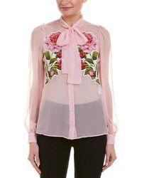 Dolce & Gabbana D&g Applique Silk Blouse - White