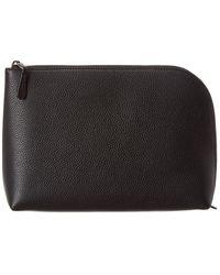 The Row Medium Square Leather Pouchette - Black