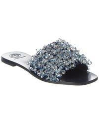 Tory Burch Logan Embellished Flat Slide Sandal - Blue