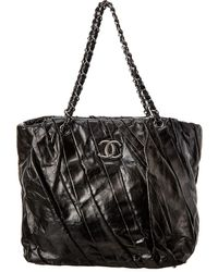Chanel Black Lambskin Leather Pleated Tote