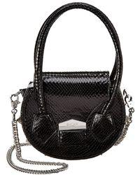 Salar Mimi Snake-embossed Leather Shoulder Bag - Black