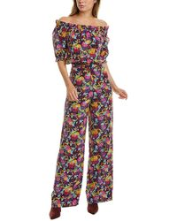 Saloni Juli Silk Jumpsuit - Multicolor