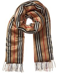 Burberry Check & Icon Stripe Cashmere & Silk Scarf - Brown