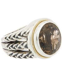 Effy Fine Jewellery 18k & Silver 12.35 Ct. Tw. Smoky Quartz Ring - Metallic