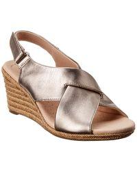 Clarks Lafley Alaine Leather Wedge Sandal - Gray