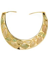 Kenneth Jay Lane - Polished Yellow Gold & Jade Faceted Stones Bib Necklace - Lyst