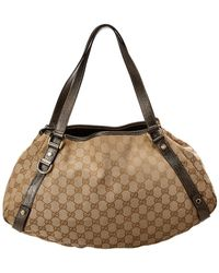 Gucci Brown Gg Supreme Coated Canvas & Leather Abbey Tote