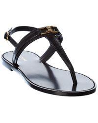Celine Triomphe Leather Sandal - Black