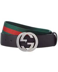 Gucci Web & Leather G Buckle Belt - Multicolour