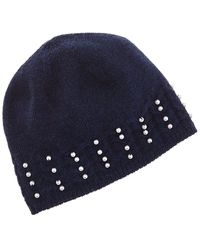 Forte Pearl Studded Cashmere Hat - Blue
