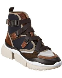 Chloé Sonnie Suede & Mesh High-top Trainer - Brown