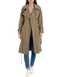 Avec Les Filles Raglan Double-breasted Long Trench Coat - Green