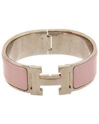 Hermès Palladium-plated & Pink Enamel Clic-clac H Bracelet
