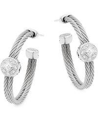 Alor - 18k White Gold, Stainless Steel & Diamond Hoop Earrings - Lyst