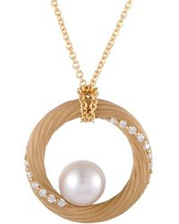 Mikimoto 18k 0.40 Ct. Tw. Diamond & 9-9.5mm Akoya Pearl Necklace - Metallic