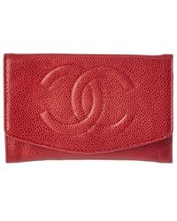 Chanel Red Caviar Leather Cc Wallet (authentic Pre-owned)