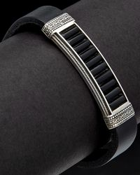 Konstantino Men's Prometheus Silver & Leather 10.00 Ct. Tw. Onyx Etched Bracelet - Black