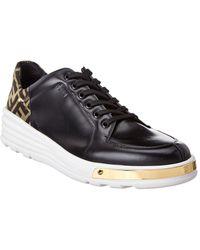 Fendi Logo Back Leather Low Top Sneaker - Black