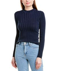 Vince Ribbed Mock Neck Pullover - Blue