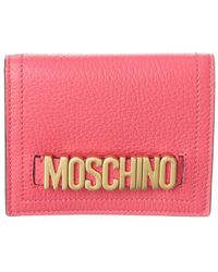 Moschino Logo Leather Compact Wallet - Pink