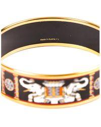 Hermès Gold-plated Wide Enamel Torana Bangle - Metallic
