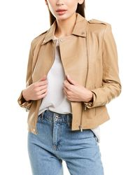 Badgley Mischka Leather Biker Jacket - Natural