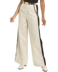 Tory Burch Leather-trimmed Linen Trouser - Natural