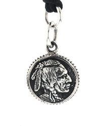 King Baby Studio Silver Chief Concho Pendant Necklace - Metallic